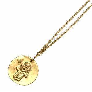 NEW Hamsa Evil Eye Gold Tone Medallion Necklace